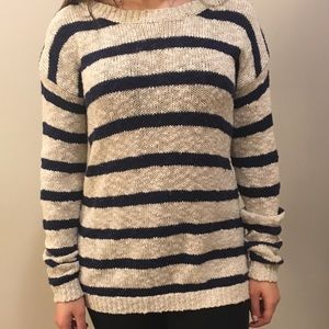 Navy & oatmeal striped sweater